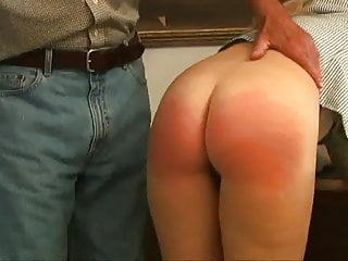 Spanking Teen Blonde video: bend over the desk
