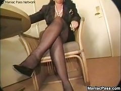 Mature brunette fucks to orgasm