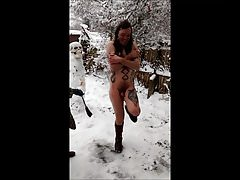 Femdom Snow Whipping