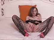 Skinny camgirl in bodystocking