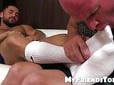 Feet worshiping and masturbation with muscular hunk and dadd