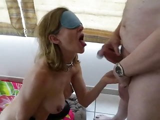 Blonde Piercing Cum In Mouth video: pierced slave with shut pussy is fucked in her ass