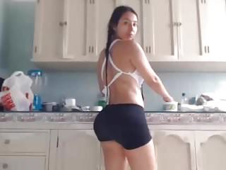 Hairy Latin Voyeur video: Super sexy hairy latin girl show pussy in the kitchen