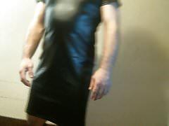 Vestido de bandagem de manga curta Bodycon lápis Bodycon de couro