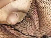 Edging assfucking dildo in fishnet pantyhose