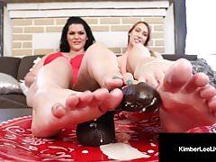 All Natural Kimber Lee & BBW Angelina Castro Do FootJob Clip