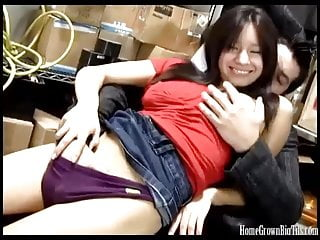 Amateur Hairy video: Big tit Asian cutie fucked in the back room at work