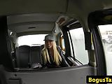 Slutty blonde brit cocksucks and rides cabbie