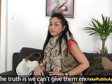 European babe pussyrubbing on casting couch