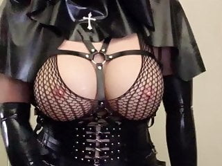 Latex Shemale Masturbation Shemale Lingerie Shemale video: Asian rubber nun latex fetish doll strokes cock
