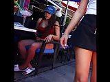 Candid voyeur hot girl sitting in bikini bottoms