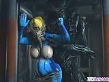 Big boobs blonde wearing blue latex suit
