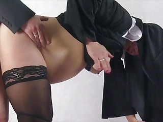 Spanking Pregnant Cosplay vid: Pregnant nun taken by surprise and fucked from behind
