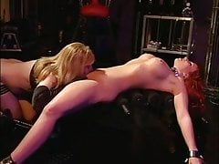 Slut getting her mouth and cunt filled with dildo
