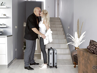 Blonde Blowjob Mature video: OLD4K. Finally, old man and young lassie can enjoy each
