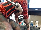 Crotchless pantyhose crazy tattoed bitch