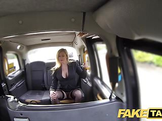 British Lingerie Pov video: Fake Taxi Great tits sexy MILF in black lingerie