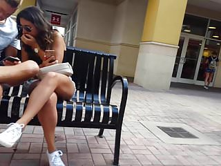 Voyeur Candid Shorts video: Candid voyeur hot girl in white shorts walking with bf