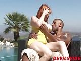Redhead bitch and her boyfriend have interracial bi threesom