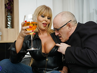 Blowjob Big Tits Milf video: British MILF Miss Gabrielle Fox has sex with dirty old man