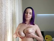 Oil and Jump With Huge Tits