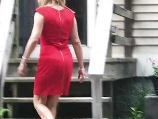 Milfs Grannies porno: Gilf wife Jan booty in red dress and heels
