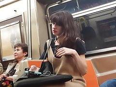 Sexy chica flaca en tren