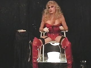 Masturbation Shemale Solo Shemale Mature Shemale video: Barbi strokes and pees in red leather.
