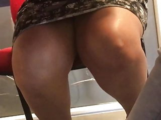 Amateur Hidden Cams video: Legs under the table of a venezolan english teacher