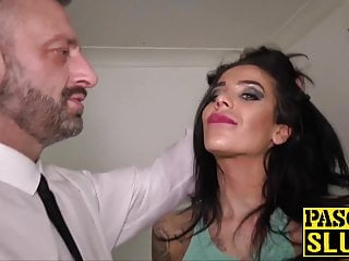 Blowjob Milf Cumshot video: Super hot subslut choked and pussy disciplined by Pascal