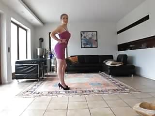 Teen sissy in a pink cocktail dress