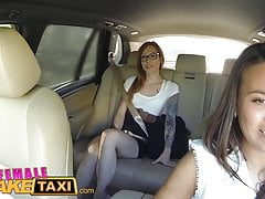 FemaleFakeTaxi Horny filthy lesbians lick shaved wet