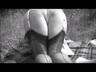 British Stockings Voyeur video: Down on the farm