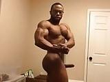 Black bodybuilder boner flexing