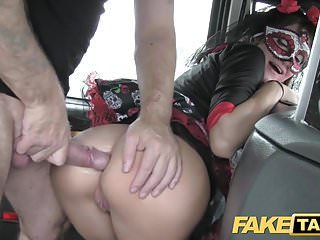 Fake Taxi girl in mask gets fucked in the ass after bf leave