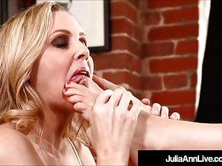 Lesbians Brunettes Lingerie video: Glamour Queen Milf Julia Ann & Kimberly Kane Lick Their Feet