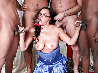 Gangbang Interracial Hardcore video: LETSDOEIT - Interracial GangBang with Mature Italian Amateur