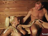 German Amateur MILF with Big Tits Fuck Stranger in Sauna