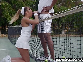 Teen Blowjob Outdoor video: Busty August Ames fucks big black dicked tennis coach