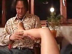 Sheer Tan Pantyhose Foot Worship and Footjob