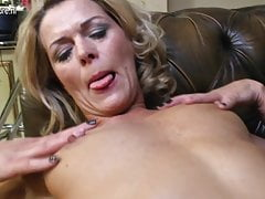 Sexy mature cougar in dissolute dress