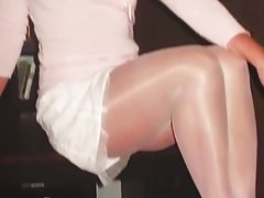 Slut german Woman in Shiny white pantyhose