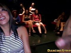 Naughty Babe saugt Stripper Hahn auf der Junggesellenparty