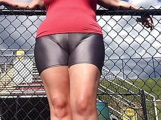 Voyeur Yoga Closeup video: Spandex Angel - Silver spandex public camel toe