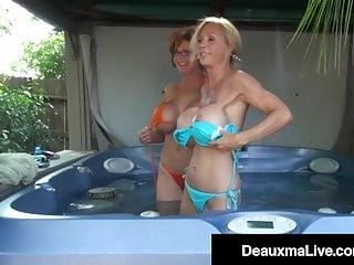Big Tits Kissing Milf video: Cougars Deauxma & Brook Tyler Tongue Fuck & Cum!
