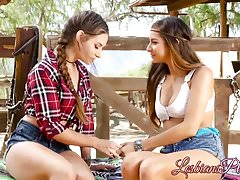 Gorące brunetki pisklęta jedzą cipkę 69 na zewnątrz