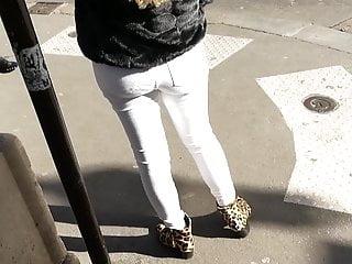 Amateur Voyeur Outdoor video: Ass Season #118 - white jeans young ass walking
