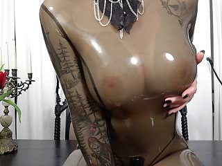 Big Boobs Latex Gothic video: My new rubber catsuit