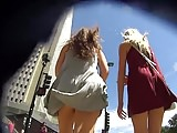 Upskirt Two Teen Windy Day