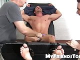 Muscle jock stripped down for a tour of the tickle machine